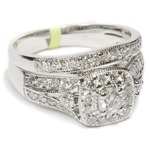 1.00 CT. Square Halo Diamond Engagement Ring Set in 14K White Gold