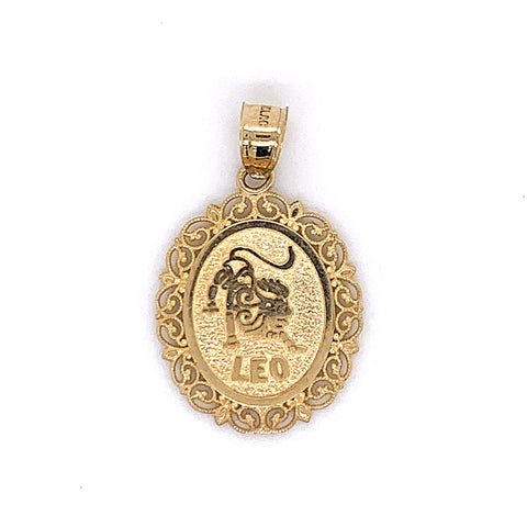 10K Yellow Gold Oval Leo Pendant