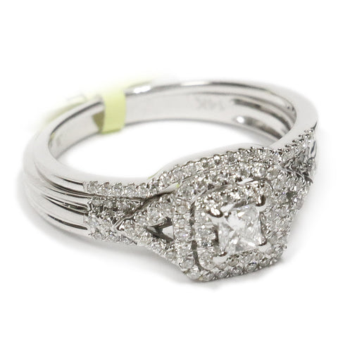 0.50 CT. Halo Princess Cut Diamond Engagement Ring Set in 14K White Gold