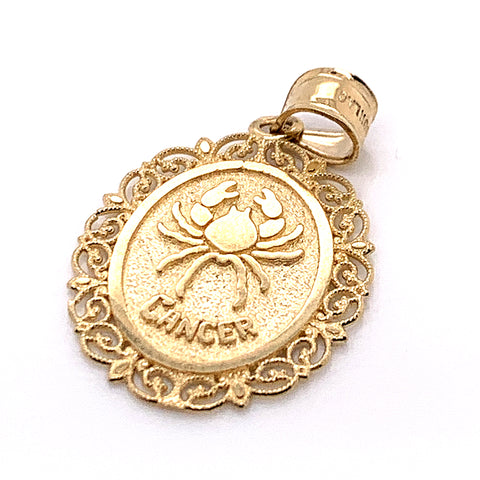 10K Yellow Gold Oval Cancer Pendant
