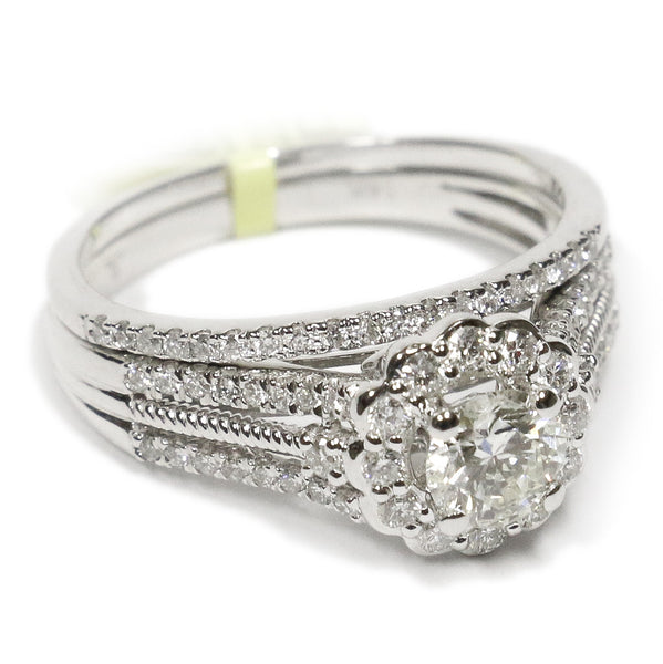 1.00 CT. Floral Halo Diamond Engagement Ring Set in 14K White Gold