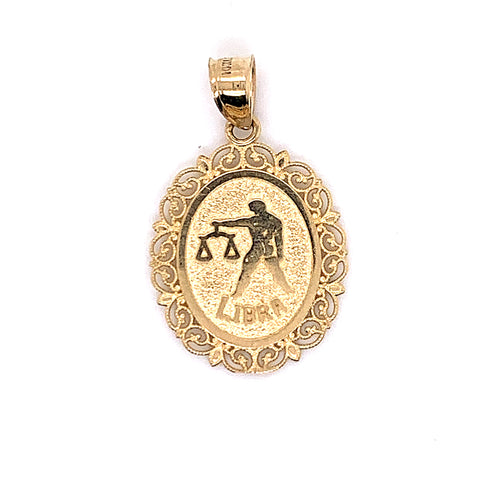 10K Yellow Gold Oval Libra Pendant