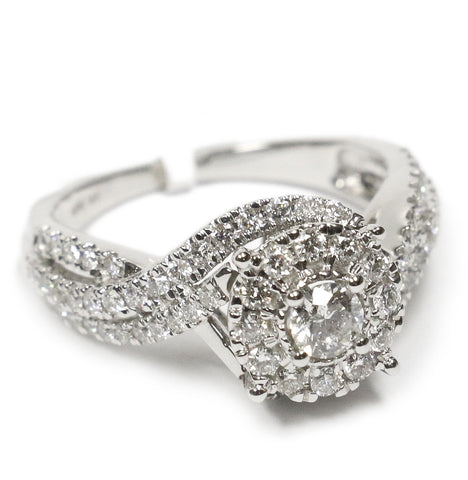 1.00 CT. Swirling Diamond Engagement Ring in 14K White Gold
