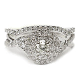 1.00 CT. Weaving Band Halo Diamond Engagement Ring Set in 14K White Gold