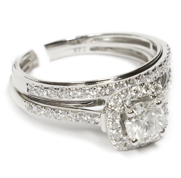 1.00 CT. Classic Diamond Engagement Ring Set in 14K White Gold