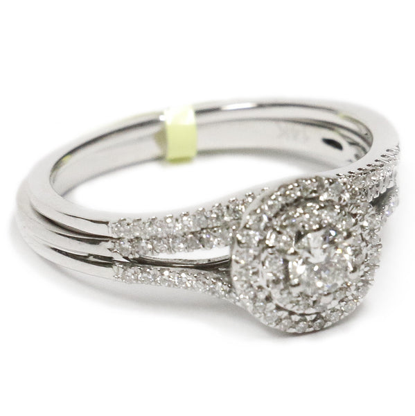 0.50 CT. Classic Halo Diamond Engagement Ring Set in 14K White Gold