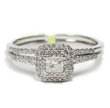 0.50 CT. Square Halo Diamond Engagement Ring Set in 14K White Gold
