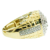 1.57 CT. Stepped Circle Diamond Ring in 10K Yellow Gold