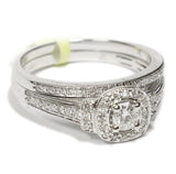 0.50 CT. Accented Square Halo Diamond Engagement Ring Set in 14K White Gold