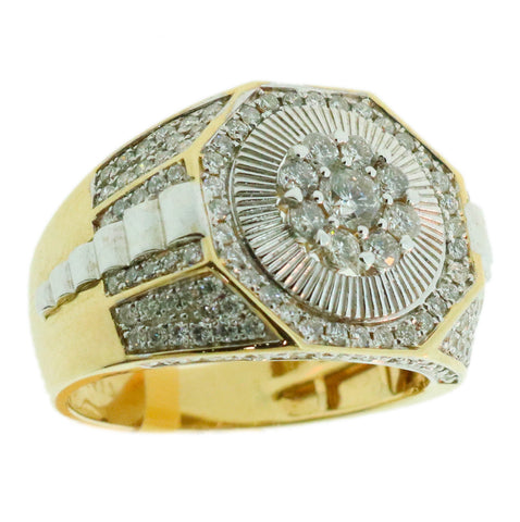 1.58 CT. Octgonal Diamond Ring in 10K Yellow Gold