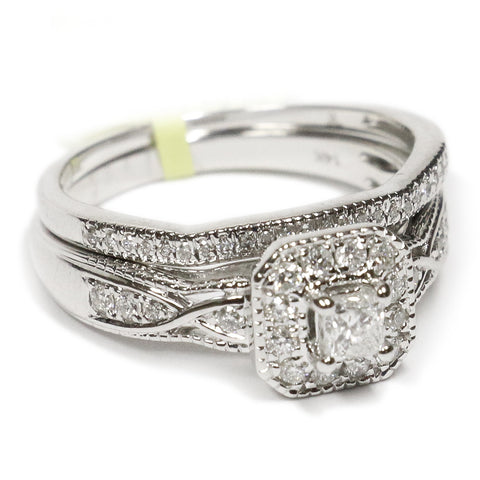 0.50 CT. Square Diamond Engagement Ring Set in 14K White Gold