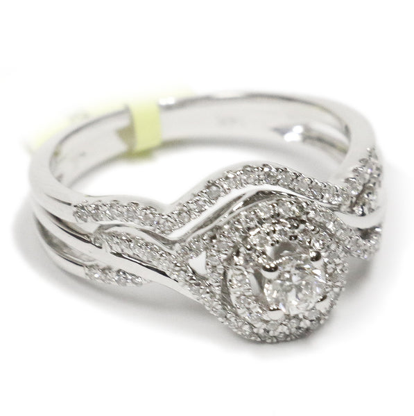 0.50 CT. Weaving Band Diamond Engagement Ring Set in 14K White Gold