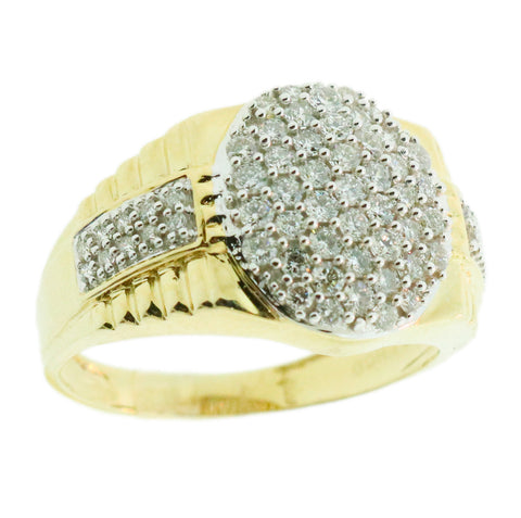 1.02 CT. Accented Ellipse Diamond Ring in 10K Yellow Gold