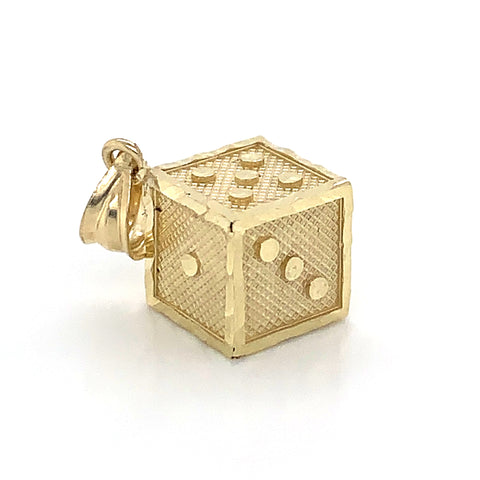 10K Yellow Gold Dice Pendant