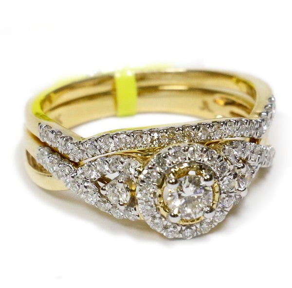 0.75 CT. Classic Halo Diamond Engagement Ring in 14K Yellow Gold