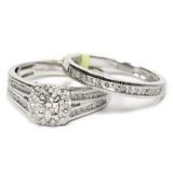 1.00 CT. Patterned Edge Halo Diamond Engagement Ring Set in 14K White Gold