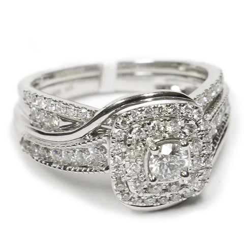 1.00 CT. Swirling Diamond Engagement Ring Set in 14K White Gold