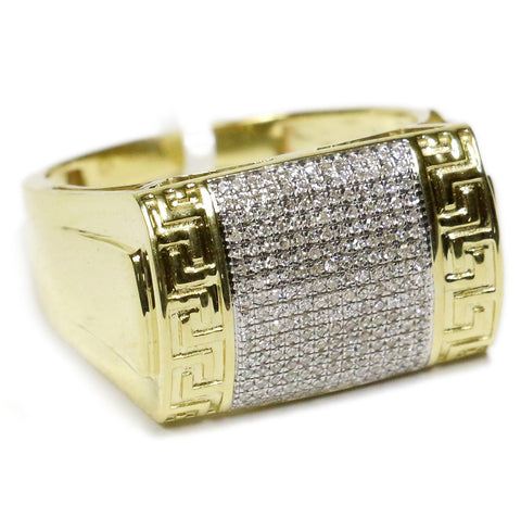 0.33 CT. Greek Patterned Diamond Statement Ring in 10K Gold