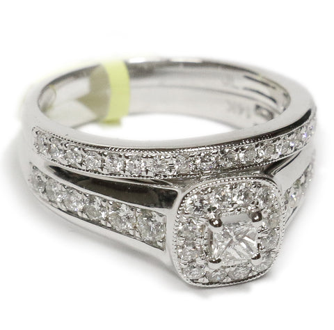 1.00 CT. Diamond Engagement Ring with Wide Band in 14K White Gold