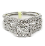0.75 CT. Weaving Band Halo Diamond Engagement Ring in 14K White Gold