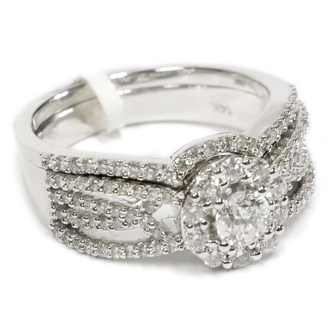 1.00 CT. Halo Diamond Engagement Ring Set in 14K White Gold