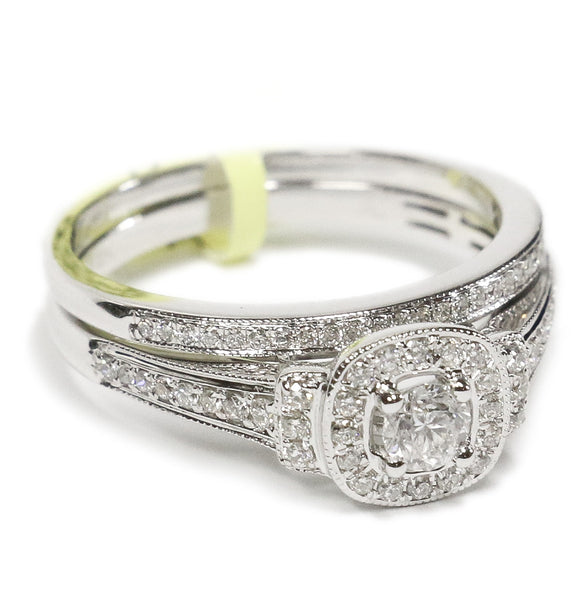 0.50 CT. Side Accented Halo Diamond Engagement Ring Set in 14K White Gold