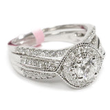 1.00 CT. Millgrain Halo Diamond Engagement Ring in 14K White Gold