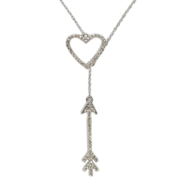 0.15 CT. Arrow and Heart Diamond Pendant in 10K White Gold (Chain Included)
