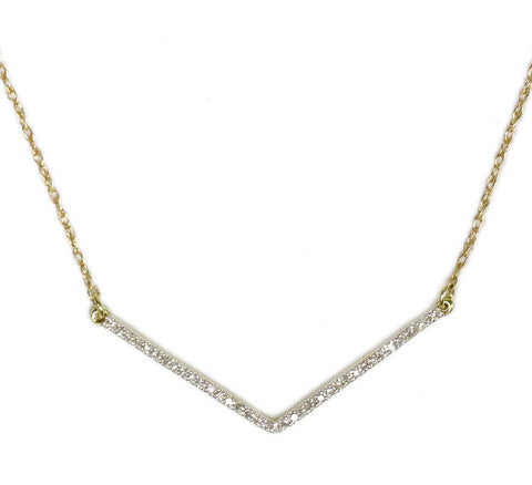 0.10 CT. Mini Chevron Diamond Pendant in 10K Yellow Gold (Chain Included)