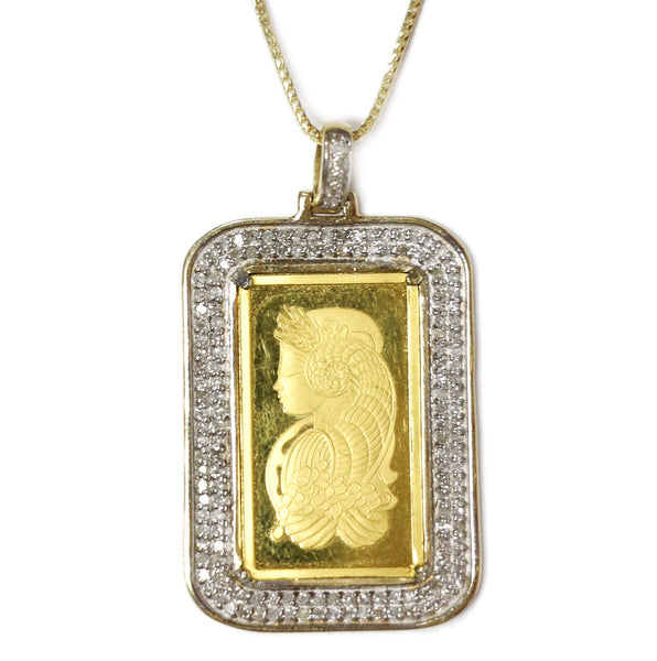 0.75 CT. 24K Suisse Bar Diamond Pendant in 10K Yellow Gold
