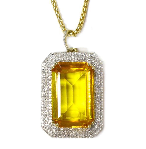 COMBO: 1.0 CT. Simulated Emerald Diamond Pendant in 10K Gold & 28 inch 10K Gold Box Link Chain