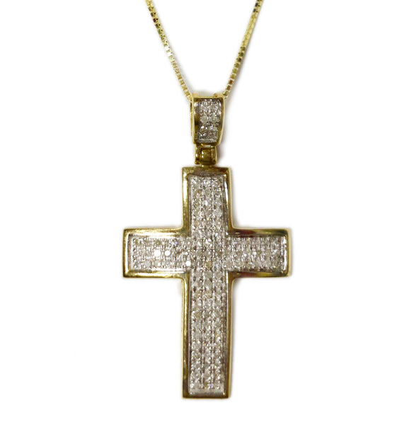 COMBO: 0.50 CT. Convex Cross Diamond Pendant in 10K Gold & 20 inch 10K Gold Box Chain