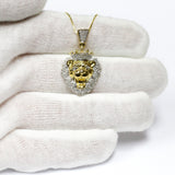 COMBO: 0.50 CT. Roaring Lion Diamond Pendant in 10K Gold & 22 inch 10K Gold Box Chain