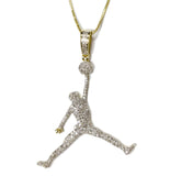 COMBO: 1.0 CT. Air Jordan Diamond Pendant in 10K Gold & 20 inch 10K Gold Solid Franco Chain