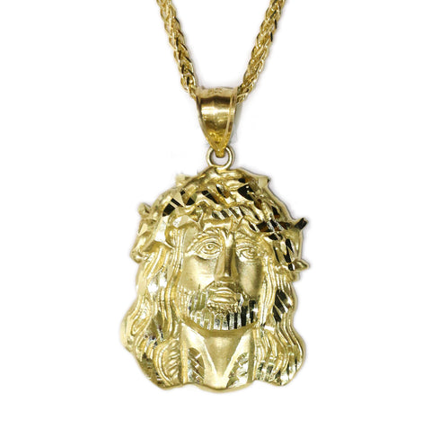 COMBO: 10K Gold Jesus Pendant & 26 Inch 10K Gold Rounded Franco Chain