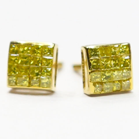 0.75 CT. Genuine Canary Diamond Earrings in 10K Gold