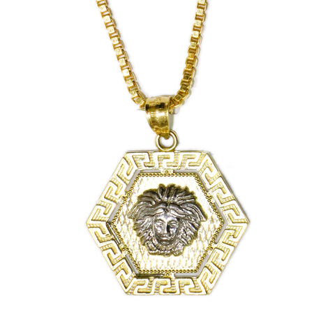 COMBO: 10K Gold Versace Pendant & 26 Inch 10K Gold Box Link Chain