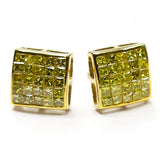 1.25 CT. Genuine Canary Diamond Earrings in 10K Gold