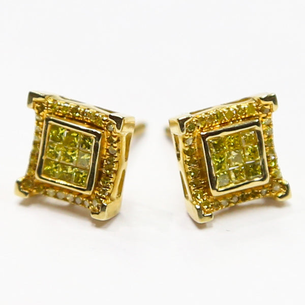 0.50 CT. Genuine Canary Diamond Earrings in 10K Gold