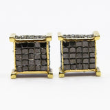 1.50 CT. 3D Black Diamond Earrings in 10K Gold