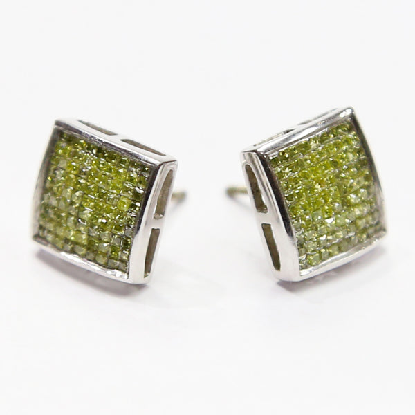 1.0 CT. Genuine Canary Diamond Earrings in 14K White Gold