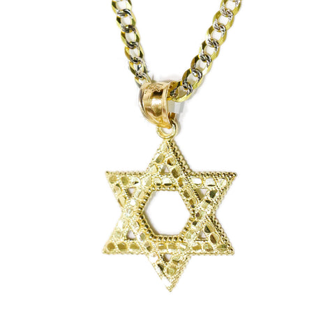 COMBO: 10K Gold Star of David Pendant & 24 Inch 10K Gold Diamond Cut Cuban Link Chain