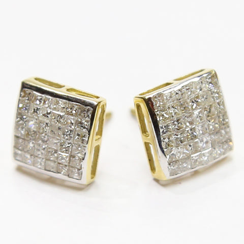 1.75 CT. Flush Set Diamond Earrings in 10K Gold