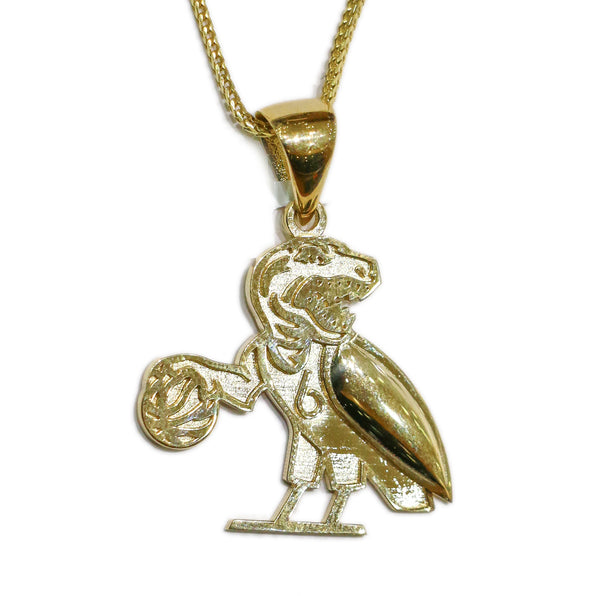 COMBO: 10K Gold 'The Six' Raptors Pendant & 26 Inch 10K Gold Solid Franco Chain