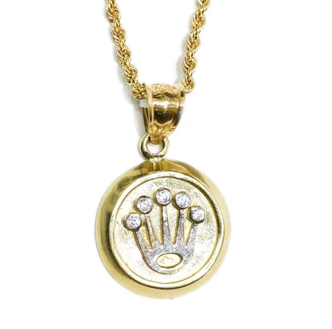 COMBO: 10K Gold Crown Mini Medallion Pendant & 28 Inch 10K Gold Rope Chain