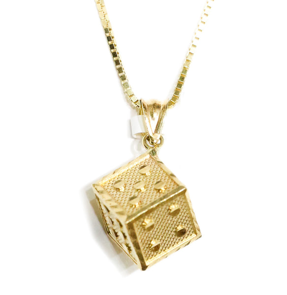 COMBO: 10K Gold Lucky Dice Block Pendant & 24 Inch 10K Gold Box Chain