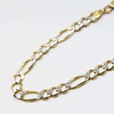 10K Gold Diamond Cut Figaro Bracelet