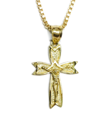 COMBO: 10K Gold Jesus on the Cross Pendant & 20 Inch 10K Gold Box Chain