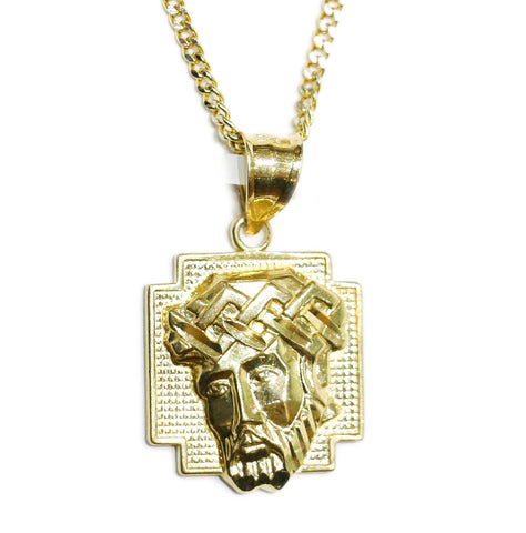 COMBO: 10K Gold Jesus Pendant & 24 Inch 10K Gold Cuban Chain