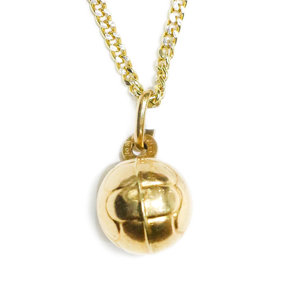 COMBO: 10K Gold Volleyball Pendant & 24 Inch 10K Gold Cuban Link ...